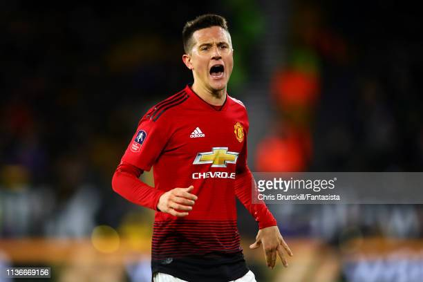 Ander Herrera of Manchester United in action during the FA Cup Quarter Final match between Wolverhampton Wanderers and Manchester United at Molineux...