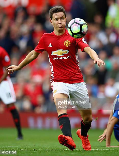 Ander Herrera of Manchester United in action during the Premier League match between Manchester United and Leicester City at Old Trafford on...