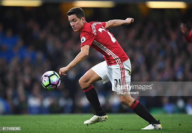 Ander Herrera of Manchester United in action during the Premier League match between Chelsea and Manchester United at Stamford Bridge on October 23...