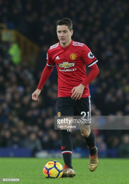 Ander Herrera of Manchester United in action during the Premier League match between Everton and Manchester United at Goodison Park on January 1 2018...