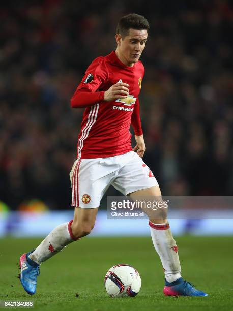 Ander Herrera of Manchester United in action during the UEFA Europa League Round of 32 first leg match between Manchester United and AS SaintEtienne...