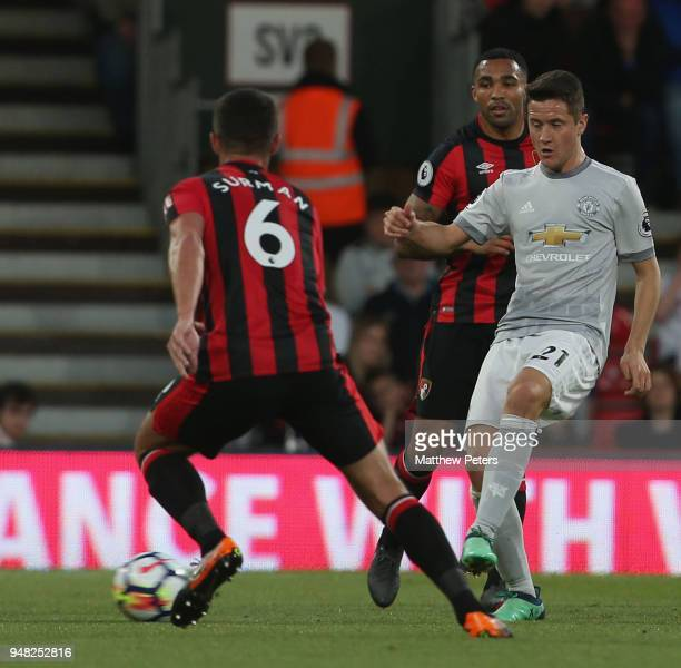 Ander Herrera of Manchester United in action with Andrew Surman of AFC Bournemouth during the Premier League match between AFC Bournemouth and...