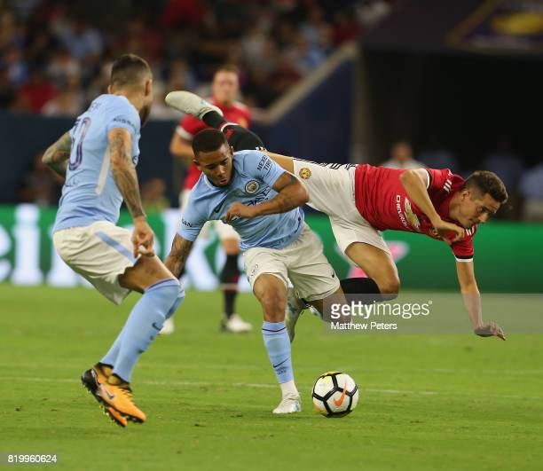 Ander Herrera of Manchester United in action with Gabriel Jesus of Manchester City during the preseason friendly International Champions Cup 2017...