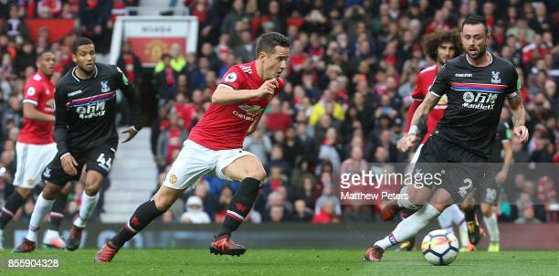 Ander Herrera of Manchester United in action with Joel Ward of Crystal Palace during the Premier League match between Manchester United and Crystal...