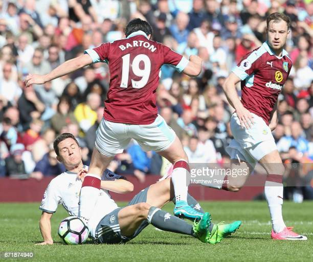 Ander Herrera of Manchester United in action with Joey Barton of Burnley during the Premier League match between Burnley and Manchester United at...