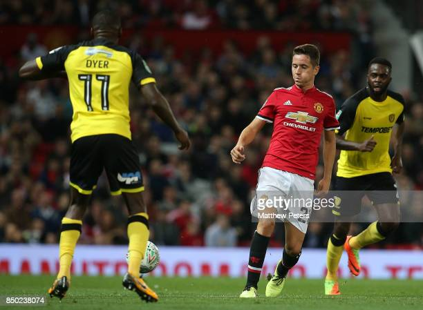 Ander Herrera of Manchester United in action with Lloyd Dyer of Burton Albion during the Carabao Cup Third Round between Manchester United and Burton...