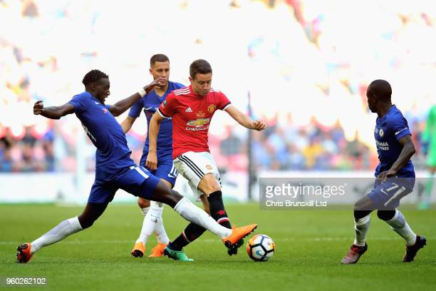 Ander Herrera of Manchester United is challenged by Tiemoue Bakayoko of Chelsea during the Emirates FA Cup Final between Chelsea and Manchester...