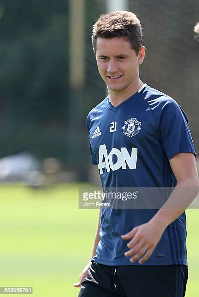 Ander Herrera of Manchester United looks on during a first team training session at Aon Training Complex on August 12 2016 in Manchester England