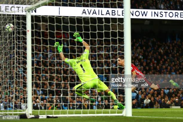 Ander Herrera of Manchester United misses a chance on goal during the Premier League match between Manchester City and Manchester United at Etihad...
