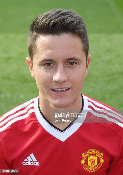 Ander Herrera of Manchester United poses during the club's annual photocall at Old Trafford on September 28 2015 in Manchester England