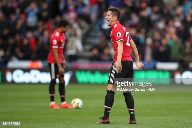 Ander Herrera of Manchester United reacts after conceding during the Premier League match between Huddersfield Town and Manchester United at John...