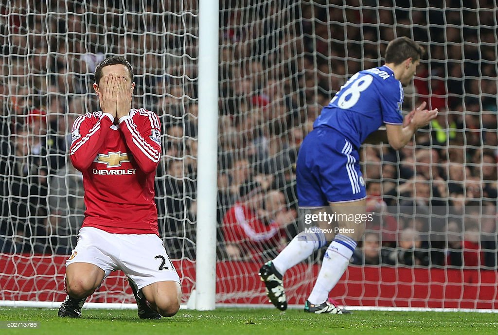 Ander Herrera of Manchester United reacts to a missed chance during the Barclays Premier League match between Manchester United and Chelsea at Old Trafford on December 28, 2015 in Manchester, England.