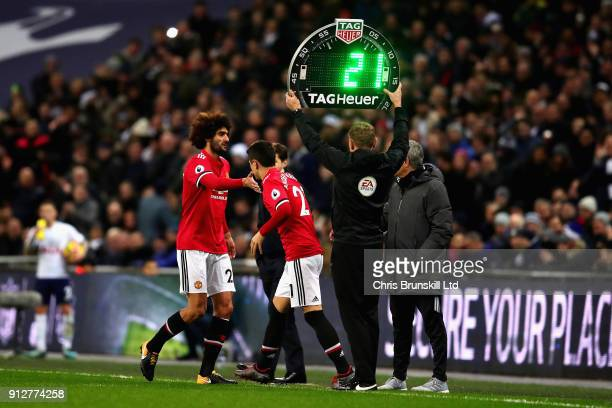 Ander Herrera of Manchester United replaces Marouane Fellaini of Manchester United as a substitute during the Premier League match between Tottenham...