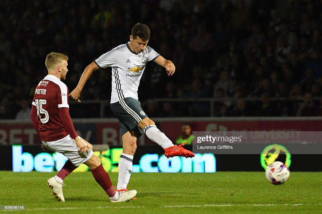 Ander Herrera of Manchester United scores his sides second goal during the EFL Cup Third Round match between Northampton Town and Manchester United at Sixfields on September 21, 2016 in Northampton, England.