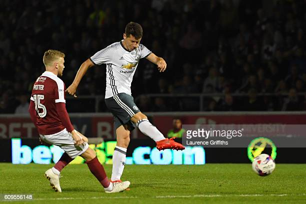 Ander Herrera of Manchester United scores his sides second goal during the EFL Cup Third Round match between Northampton Town and Manchester United...