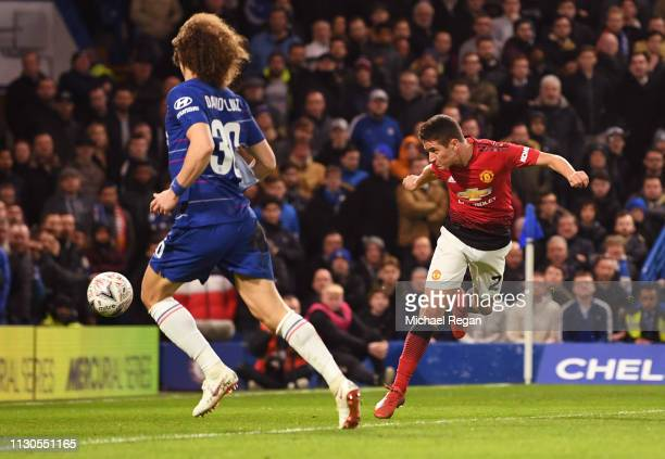 Ander Herrera of Manchester United scores his team's first goal during the FA Cup Fifth Round match between Chelsea and Manchester United at Stamford...