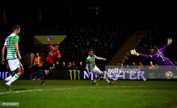 Ander Herrera of Manchester United scores the 2nd Manchester United goal during The Emirates FA Cup Fourth Round match between Yeovil Town and...