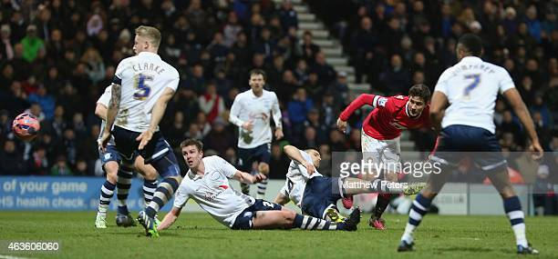 Ander Herrera of Manchester United scores their first goal during the FA Cup Fifth Round match between Preston North End and Manchester United at...