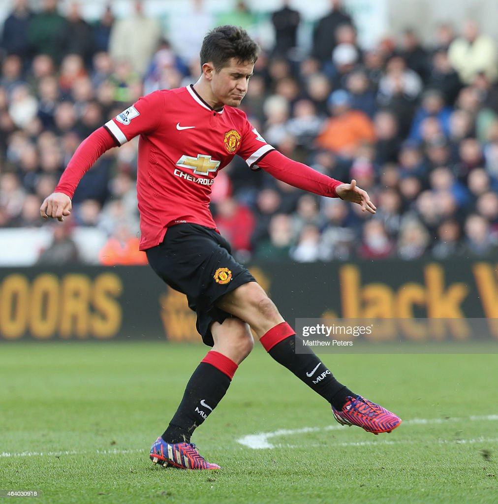 Ander Herrera of Manchester United scores their first goal during the Barclays Premier League match between Swansea City and Manchester United at Liberty Stadium on February 21, 2015 in Swansea, Wales.