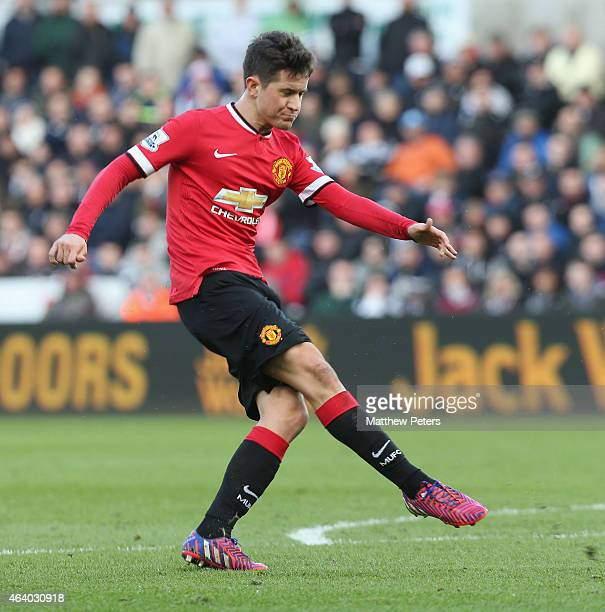 Ander Herrera of Manchester United scores their first goal during the Barclays Premier League match between Swansea City and Manchester United at...