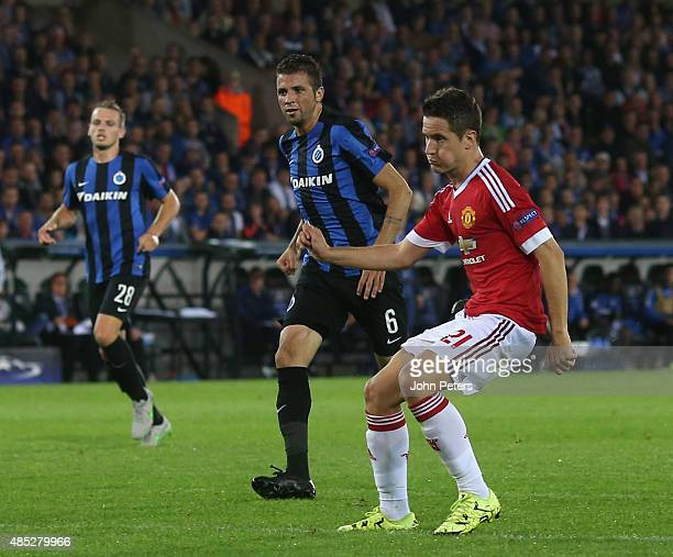Ander Herrera of Manchester United scores their fourth goal during the UEFA Champions League playoff second leg match between Club Brugge and...