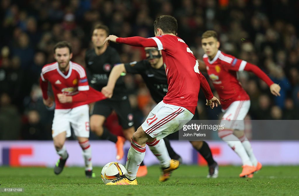 Ander Herrera of Manchester United scores their fourth goal during the UEFA Europa League match between Manchester United and FC Midtjylland at Old Trafford on February 25, 2016 in Manchester, United Kingdom.
