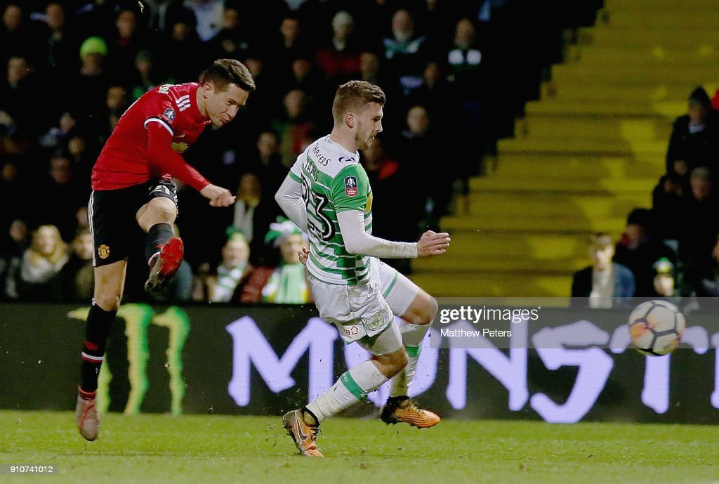 Ander Herrera of Manchester United scores their second goal during the Emirates FA Cup Fourth Round match between Yeovil Town and Manchester United at Huish Park on January 26, 2018 in Yeovil, England.