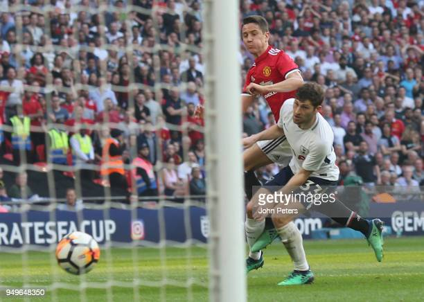 Ander Herrera of Manchester United scores their second goal during the Emirates FA Cup semi-final match between Manchester United and Tottenham...