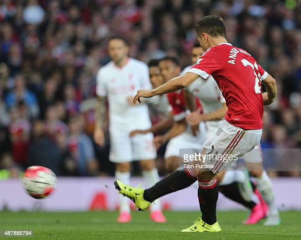 Ander Herrera of Manchester United scores their second goalduring the Barclays Premier League match between Manchester United and Liverpool at Old...