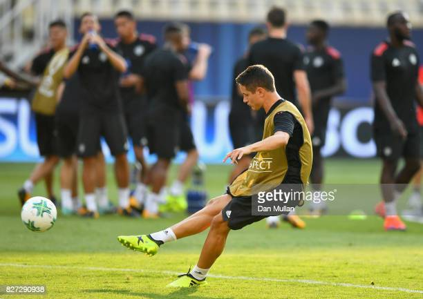 Ander Herrera of Manchester United shoots during a training session ahead of the UEFA Super Cup final between Real Madrid and Manchester United on...