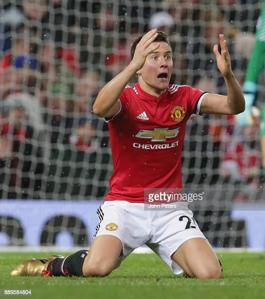 Ander Herrera of Manchester United shows his surprise at not winning a penalty during the Premier League match between Manchester United and...