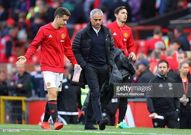 Ander Herrera of Manchester United speaks to Jose Mourinho Manager of Manchester United after the final whistle during the Premier League match...