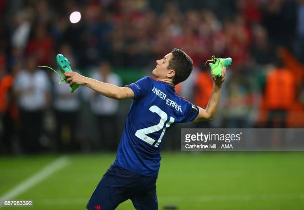 Ander Herrera of Manchester United throws his boots to the crowd during the UEFA Europa League Final match between Ajax and Manchester United at...