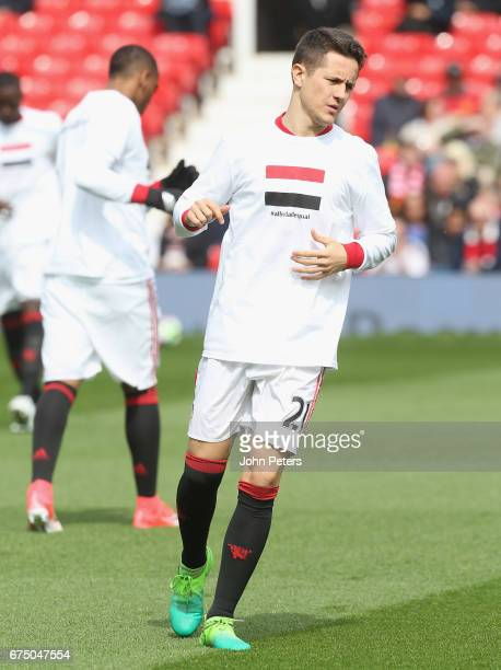 Ander Herrera of Manchester United warms up ahead of the Premier League match between Manchester United and Swansea City at Old Trafford on April 30...