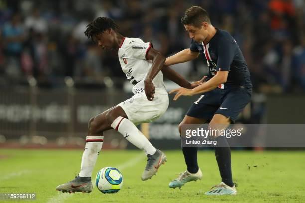 Ander Herrera of Paris Saint-Germain competes the ball with Eduardo Camavinga of Stade Rennais FC during the 2019 Trophee des Champions between Paris...