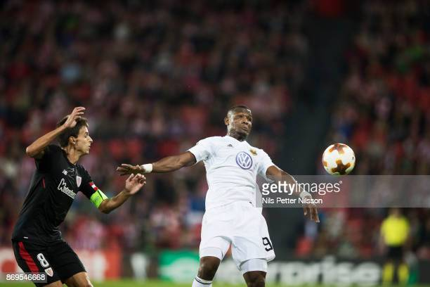 Ander Iturraspe of Athletic Bilbao and Alhaji Gero of Ostersunds FK during the UEFA Europa League group J match between Athletic Bilbao and...