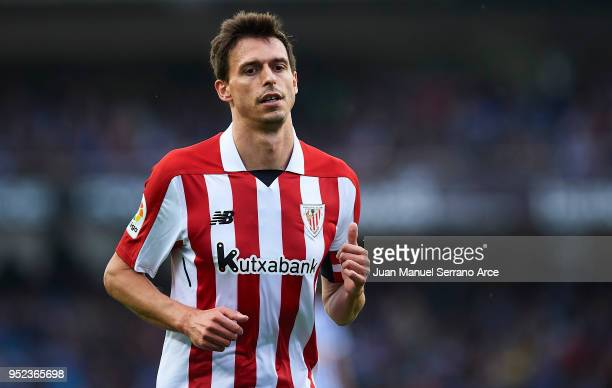Ander Iturraspe of Athletic Club looks onduring the La Liga match between Real Sociedad and Athletic Club at Estadio de Anoeta on April 28 2018 in...