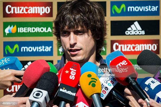 Ander Iturraspe of Spain faces the media as he arrives for a training camp at Ciudad del Futbol on May 26 2014 in Las Rozas de Madrid Spain