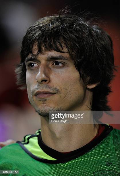Ander Iturraspe of Spain looks on prior to the start of the UEFA EURO 2016 Group C Qualifier between Spain and FYR of Macedonia at Estadio Ciutat de...