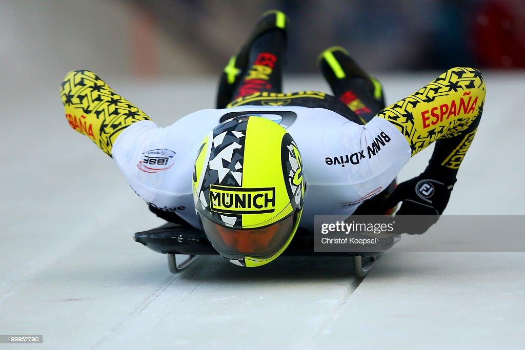 Ander Mirambell of Spain competes in his first run of the men's skeleton competition during the BMW IBSF Bob & Skeleton Worldcup at Veltins Eis-Arena on December 4, 2015 in Winterberg, Germany.