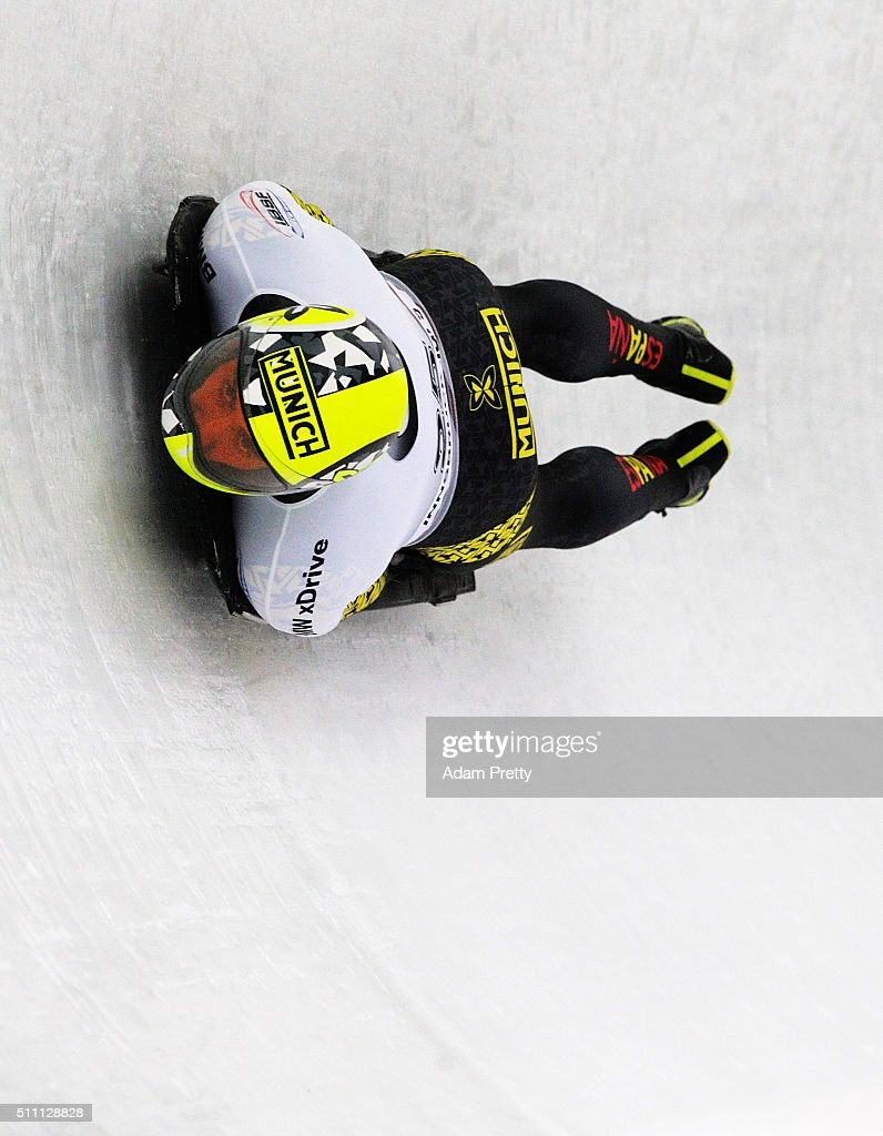 Ander Mirambell of Spain completes his first run of the Men's Skeleton during Day 4 of the IBSF World Championships 2016 at Olympiabobbahn Igls on February 18, 2016 in Innsbruck, Austria.