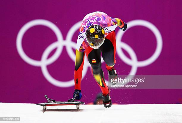 Ander Mirambell of Spain makes a run during the Men's Skeleton on Day 8 of the Sochi 2014 Winter Olympics at Sliding Center Sanki on February 15 2014...