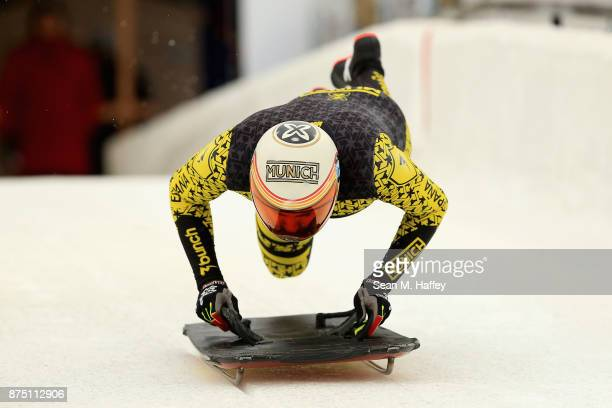 Ander Mirambell of Spain takes a training run in the Men's Skeleton during the BMW IBSF Bobsleigh + Skeleton World Cup at Utah Olympic Park November...