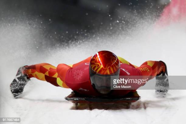 Ander Mirambell of Spain trains during the Mens Skeleton training session on day four of the PyeongChang 2018 Winter Olympic Games at Olympic Sliding...