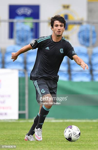 Ander Saenz of Real Sociedad during the third and fourth place play off Super Cup NI game at Ballymena Showgrounds on July 23 2016 in Ballymena...