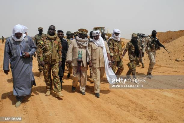 Anderamboukane prefect Moussa Diallo and Menaka region governor Daouda Maiga visit the military base of Malian Army forces in Anderamboukane Menaka...