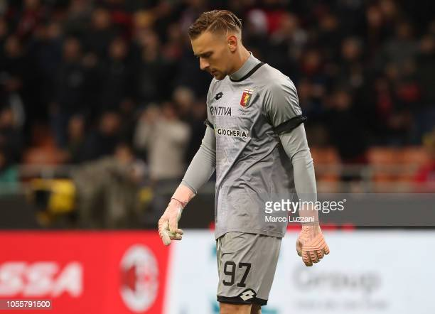 Anderi Radu of Genoa CFC reacts during the serie A match between AC Milan and Genoa CFC at Stadio Giuseppe Meazza on October 31 2018 in Milan Italy