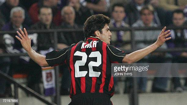AC Milan's Kaka celebrates after he scored 01 during their European football Champions League first round match between AC Milan and RSC Anderlecht...