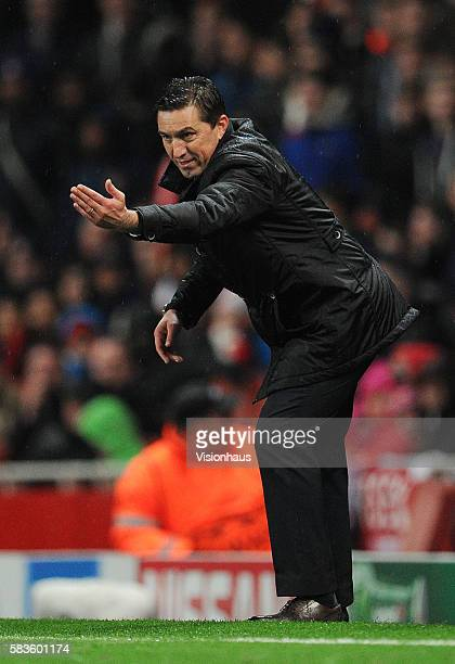 Anderlecht Coach Besnik Hasi during the UEFA Champions Group D match between Arsenal and Anderlecht at Emirates Stadium in London UK Photo...