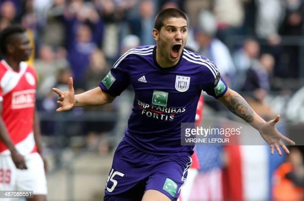 Anderlecht's Aleksandar Mitrovic celebrates after scoring the 21 goal during the Jupiler Pro League Playoff football match between RSC Anderlecht and...